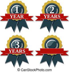 aniversario, sello, cinta, 1, 2, 3, años