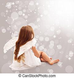 anjinho, pensando, em, divino, luz