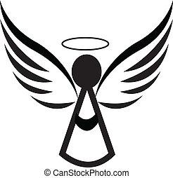 anjo, ícone, logotipo