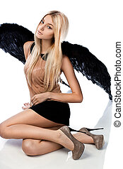 anjo branco, fundo, pretas, asas