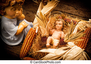 anjo, card., cuidado, bebê jesus, xmas