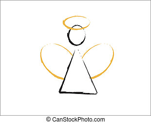 anjo, com, dourado, asas, e, halo