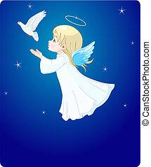 anjo, com, pomba