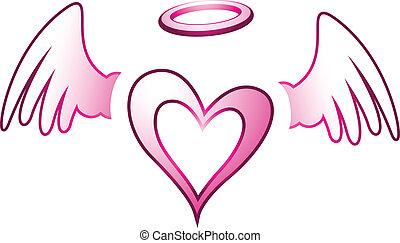 anjo, coração, e, asas
