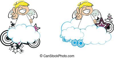 anjo, criança, caricatura, copysapce11