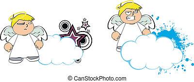 anjo, criança, caricatura, copysapce2