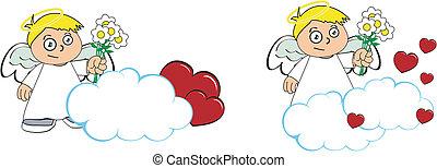 anjo, criança, caricatura, copysapce3