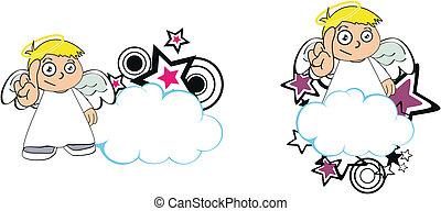 anjo, criança, caricatura, copysapce7