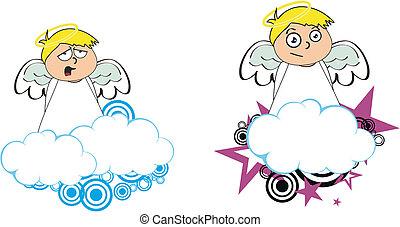 anjo, criança, caricatura, copysapce9