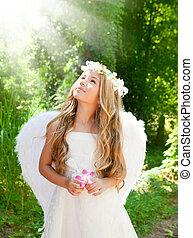 anjo, crianças, menina, em, floresta, com, flor, em, mão