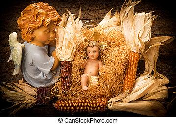 anjo, cuidado, bebê, natal, jesus, cartões.