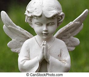 anjo, doce, isolado, estatueta, experiência verde, orando