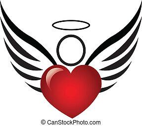 anjo, e, coração, logotipo