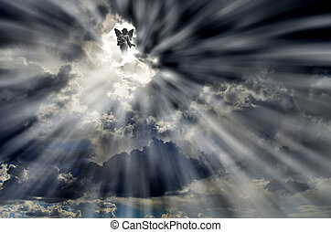 anjo, em, céu, nuvens, com, raios luz