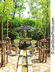 anjo, escultura, chafariz, jardim