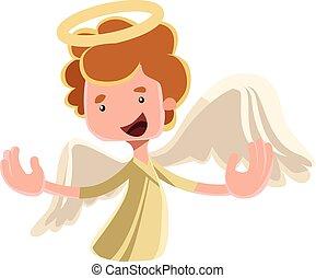 anjo, espalhar, asas, bonito