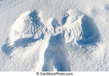 anjo, fundo, nevado