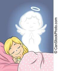anjo, guardião, sono, calmo, menina, criança