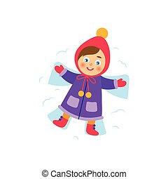 anjo, neve, vetorial, fazer, menina, mentindo