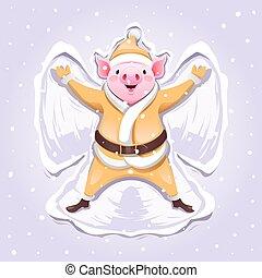 anjo, ouro, neve, porca, terno santa, fazer