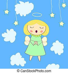 anjo, pequeno, cartão cumprimento