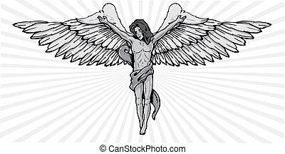 anjo, pose, ilustração, vetorial, crucifixo, macho