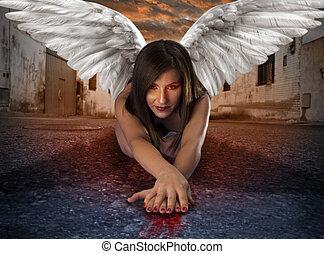 anjo, sangrento, apocaliptic, rua, fêmea passa, mentindo