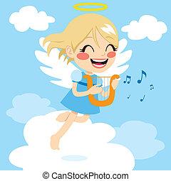 anjo, tocando, harpa