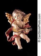 anjo, tocando, ligado, guitarra