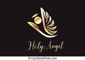 anjo, voando, logotipo