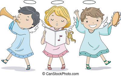 anjos, elogiar, com, música