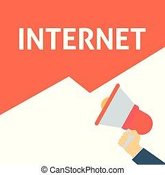 ankündigung, megaphon, internet, halten hand