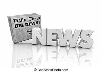 ankündigung, wort, artikel, abbildung, nachrichten, schlagzeilen, 3d