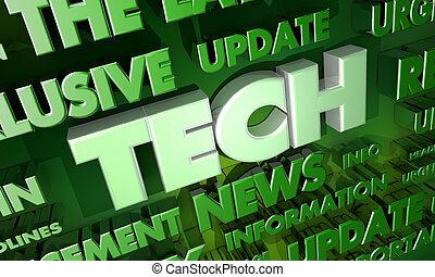 ankündigung, wort, collage, aktualisierung, abbildung, technologie, nachrichten, 3d