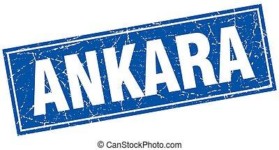 Ankara blue square grunge vintage isolated stamp