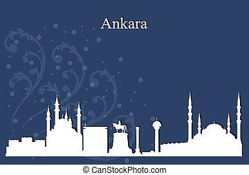 Ankara city skyline silhouette on blue background