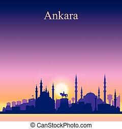 Ankara city skyline silhouette on sunset background