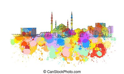 Ankara Colorful Landmark Banner