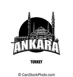 Ankara mosque black and white logo