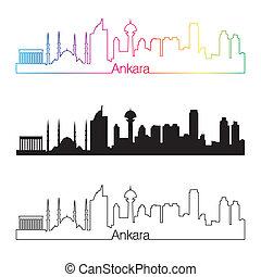 Ankara skyline linear style with rainbow in editable vector...