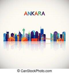 Ankara skyline silhouette in colorful geometric style.