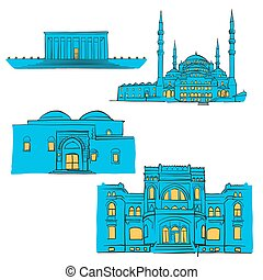 Ankara, Turkey, Colored Landmarks, Scalable Vector...
