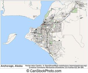 ankerplatz, stadt, alaska, usa, landkarte