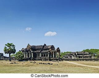ankgor, wat, repère célèbre, temple, détail, près, siem,...
