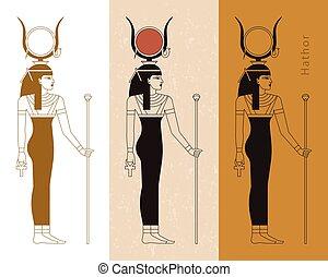 ankh., コレクション, エジプト人, ベクトル, 古代, イラスト, hathor, 女神