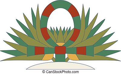 Ankh and cane compostion, ornamental cane element of Ancient Egypt. Symbol of life.