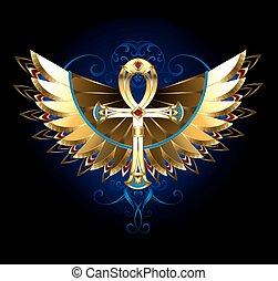 ankh, skrzydełka, złoty