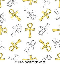Ankh symbol pattern. Vector egyptian cross pattern isolated