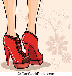 Ankle boots - Card or background with elegant woman legs in ...