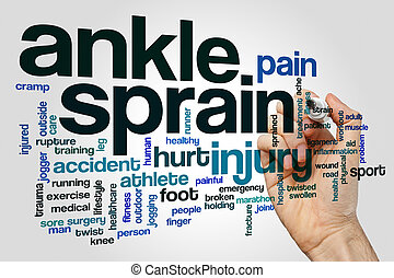 Ankle sprain word cloud concept on grey background.